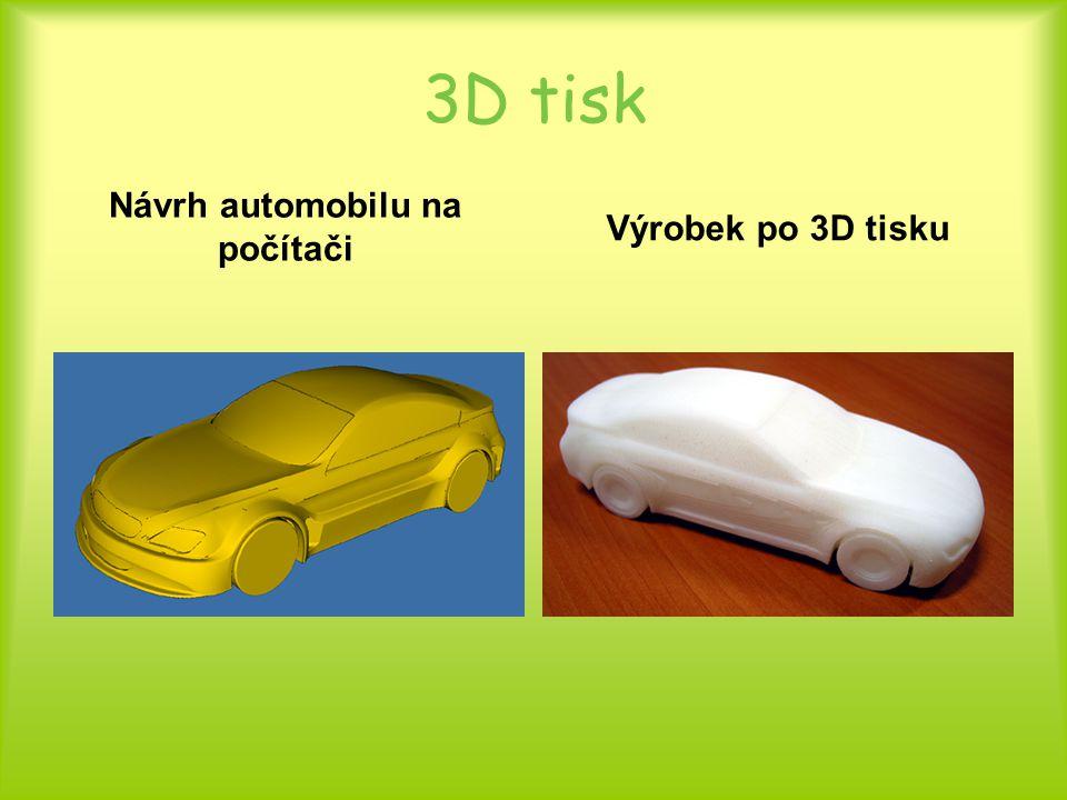 3D tisk Návrh automobilu na počítači Výrobek po 3D tisku