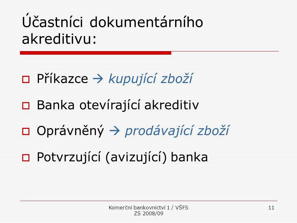 Komerční bankovnictví 1 / VŠFS ZS 2008/09 11  Příkazce  kupující zboží  Banka otevírající akreditiv  Oprávněný  prodávající zboží  Potvrzující (