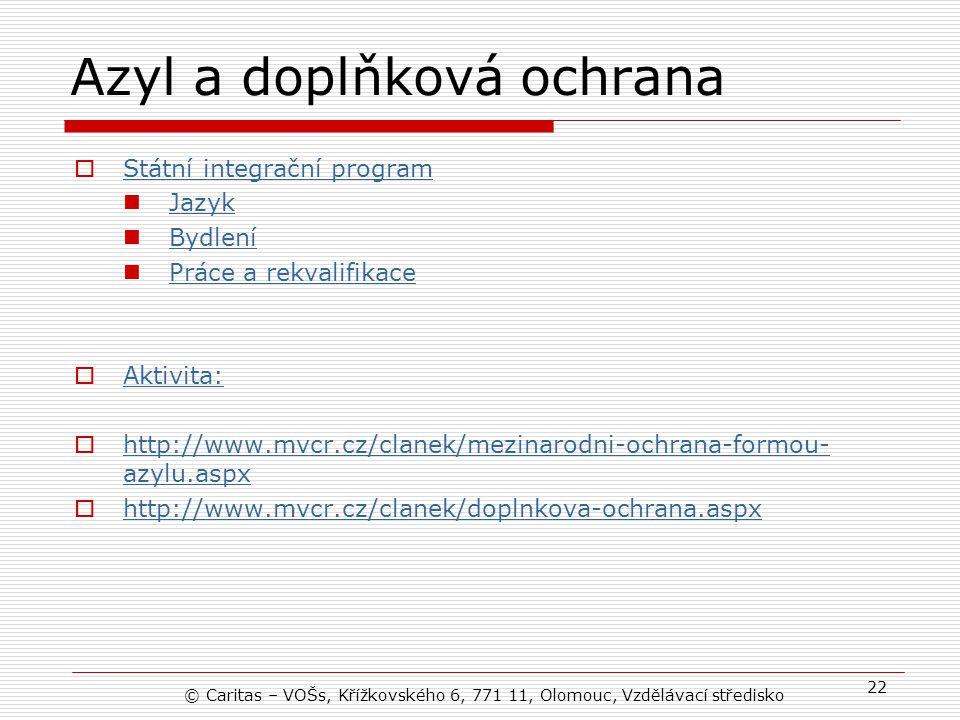 Azyl a doplňková ochrana  Státní integrační program Státní integrační program Jazyk Bydlení Práce a rekvalifikace  Aktivita: Aktivita:  http://www.mvcr.cz/clanek/mezinarodni-ochrana-formou- azylu.aspx http://www.mvcr.cz/clanek/mezinarodni-ochrana-formou- azylu.aspx  http://www.mvcr.cz/clanek/doplnkova-ochrana.aspx http://www.mvcr.cz/clanek/doplnkova-ochrana.aspx © Caritas – VOŠs, Křížkovského 6, 771 11, Olomouc, Vzdělávací středisko 22