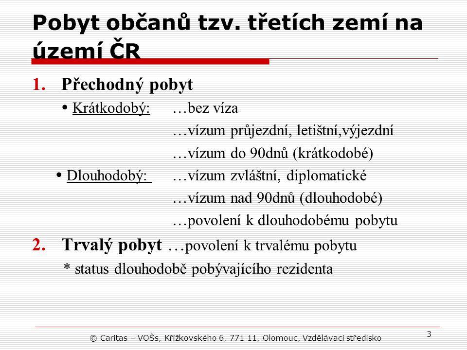 © Caritas – VOŠs, Křížkovského 6, 771 11, Olomouc, Vzdělávací středisko 3 Pobyt občanů tzv.