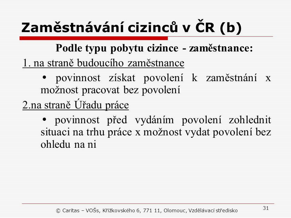 © Caritas – VOŠs, Křížkovského 6, 771 11, Olomouc, Vzdělávací středisko 31 Zaměstnávání cizinců v ČR (b) Podle typu pobytu cizince - zaměstnance: 1.
