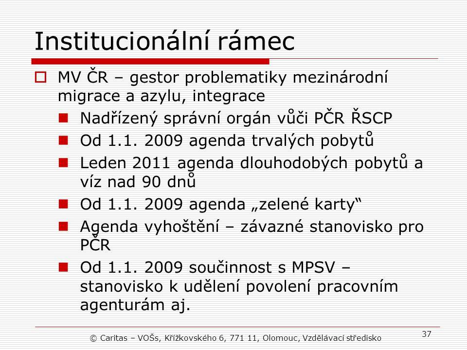 Institucionální rámec  MV ČR – gestor problematiky mezinárodní migrace a azylu, integrace Nadřízený správní orgán vůči PČR ŘSCP Od 1.1.