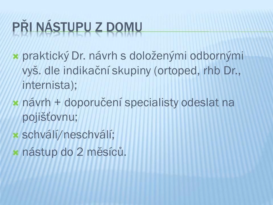  praktický Dr. návrh s doloženými odbornými vyš. dle indikační skupiny (ortoped, rhb Dr., internista);  návrh + doporučení specialisty odeslat na po