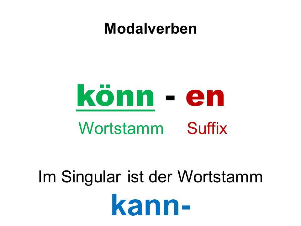 Modalverben könn - en Wortstamm Suffix Im Singular ist der Wortstamm kann-