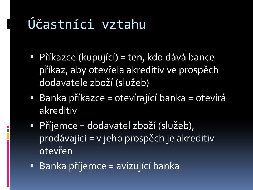 Účastníci vztahu  Příkazce (kupující) = ten, kdo dává bance příkaz, aby otevřela akreditiv ve prospěch dodavatele zboží (služeb)  Banka příkazce = o