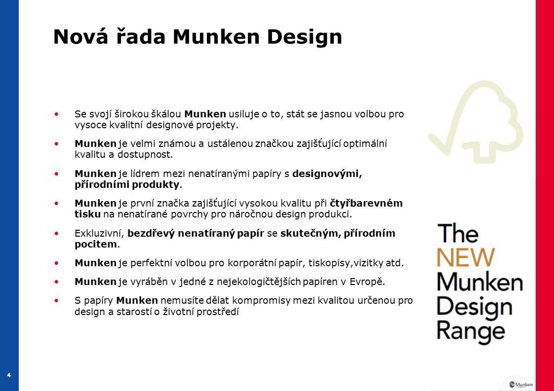 4 44 Nová řada Munken Design Se svojí širokou škálou Munken usiluje o to, stát se jasnou volbou pro vysoce kvalitní designové projekty.