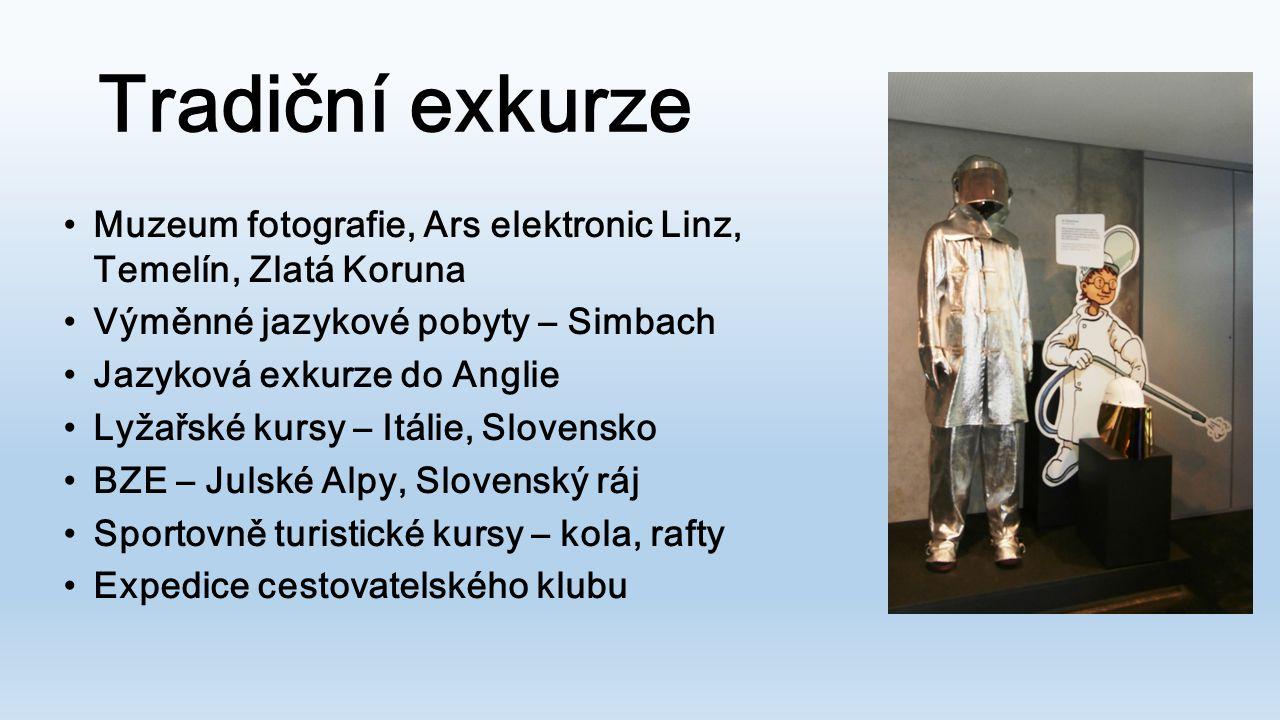 Tradiční exkurze Muzeum fotografie, Ars elektronic Linz, Temelín, Zlatá Koruna Výměnné jazykové pobyty – Simbach Jazyková exkurze do Anglie Lyžařské k