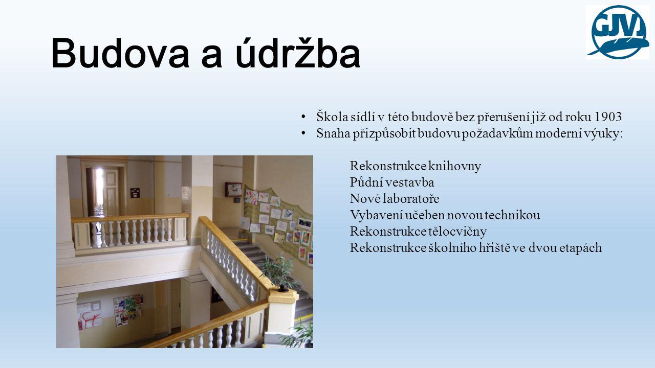 Budova a údržba Škola sídlí v této budově bez přerušení již od roku 1903 Snaha přizpůsobit budovu požadavkům moderní výuky: Rekonstrukce knihovny Půdn