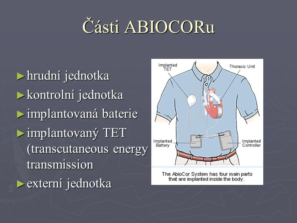 Části ABIOCORu ► hrudní jednotka ► kontrolní jednotka ► implantovaná baterie ► implantovaný TET (transcutaneous energy transmission ► externí jednotka
