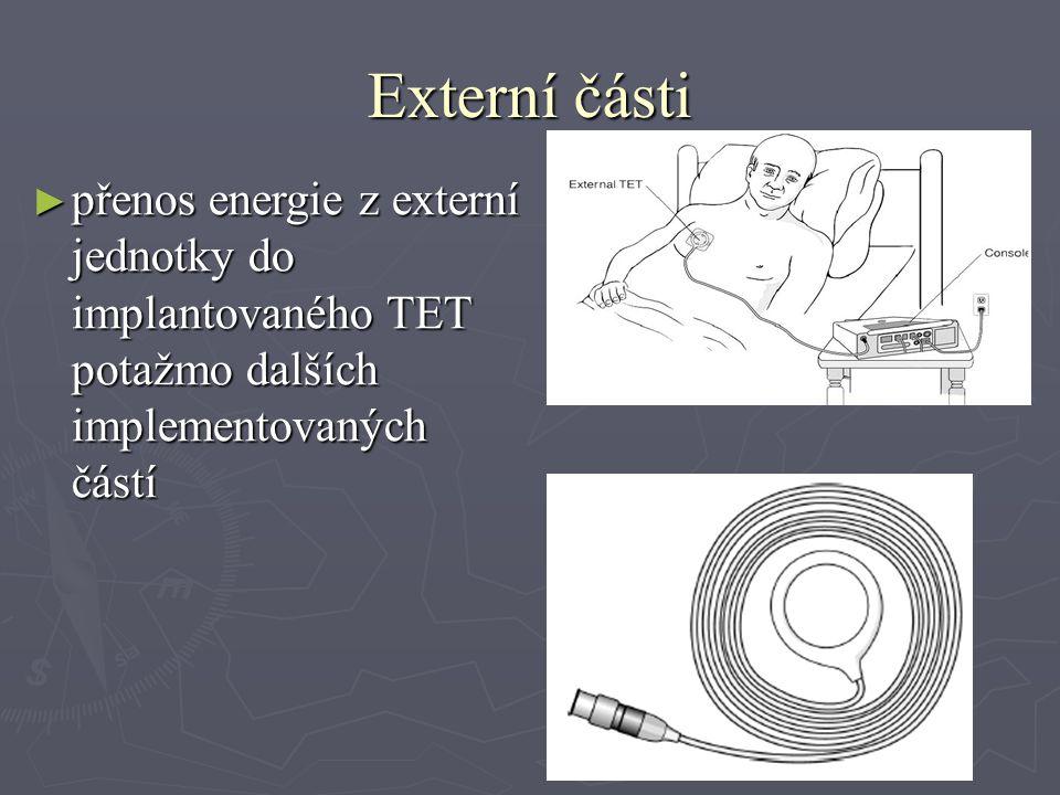 Externí části ► přenos energie z externí jednotky do implantovaného TET potažmo dalších implementovaných částí