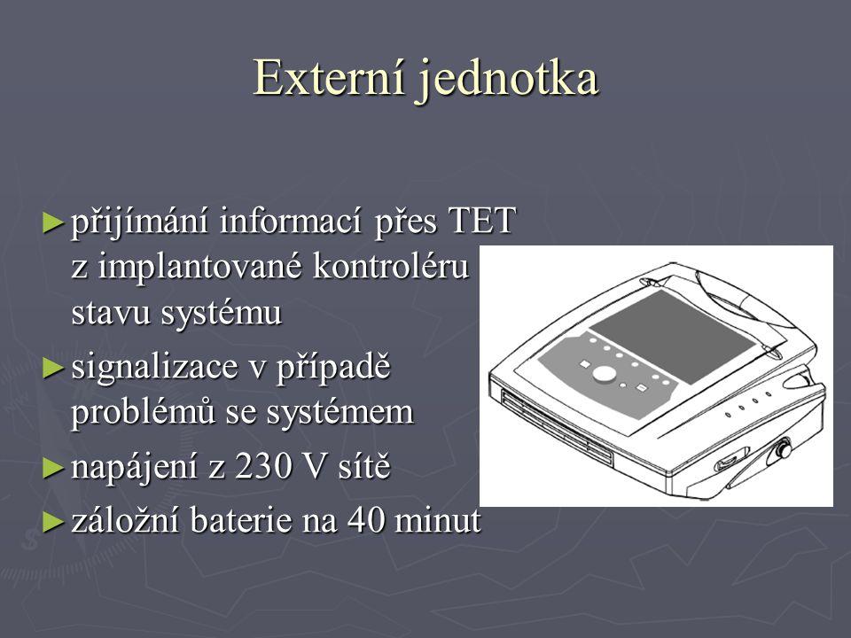 Externí jednotka ► přijímání informací přes TET z implantované kontroléru o stavu systému ► signalizace v případě problémů se systémem ► napájení z 230 V sítě ► záložní baterie na 40 minut