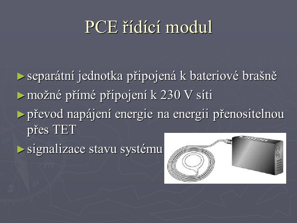 PCE řídící modul ► separátní jednotka připojená k bateriové brašně ► možné přímé připojení k 230 V síti ► převod napájení energie na energii přenositelnou přes TET ► signalizace stavu systému