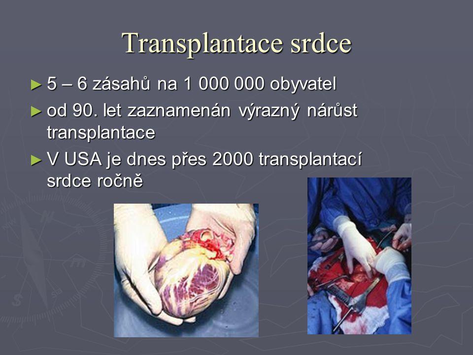 Transplantace srdce ► 5 – 6 zásahů na 1 000 000 obyvatel ► od 90.