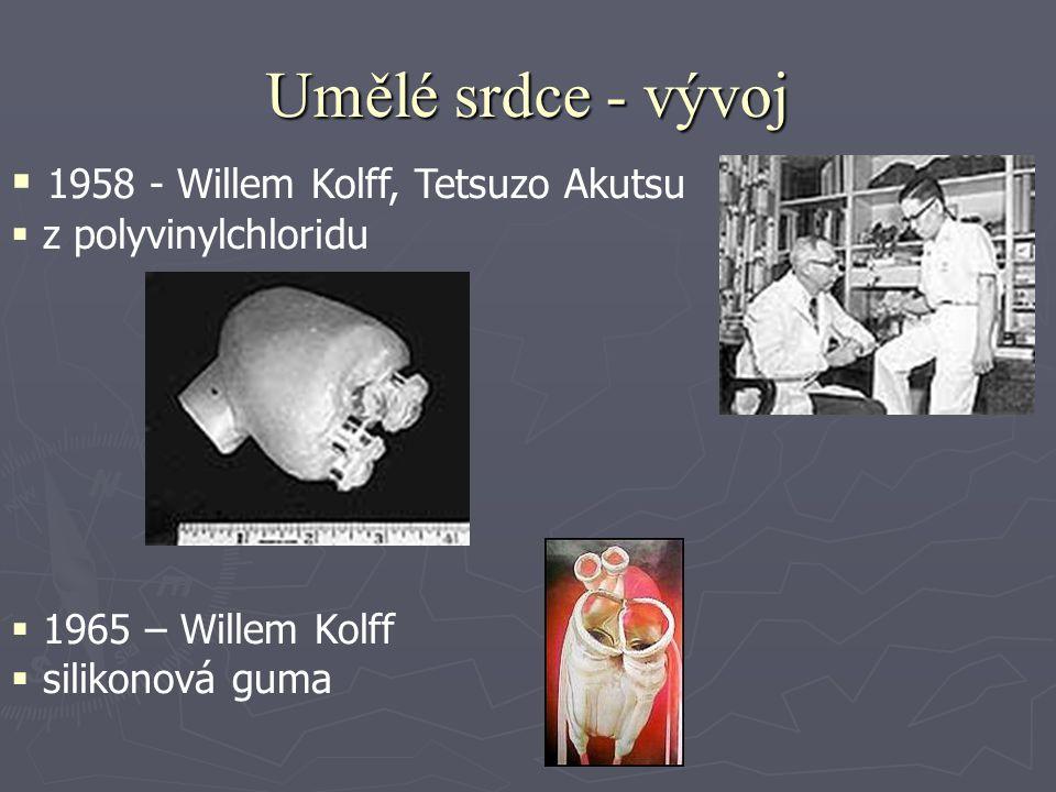 Umělé srdce - vývoj ► 1969 – Domingo Liotta ► první transplantace umělého srdce člověku ► pacient přežil 3 dny