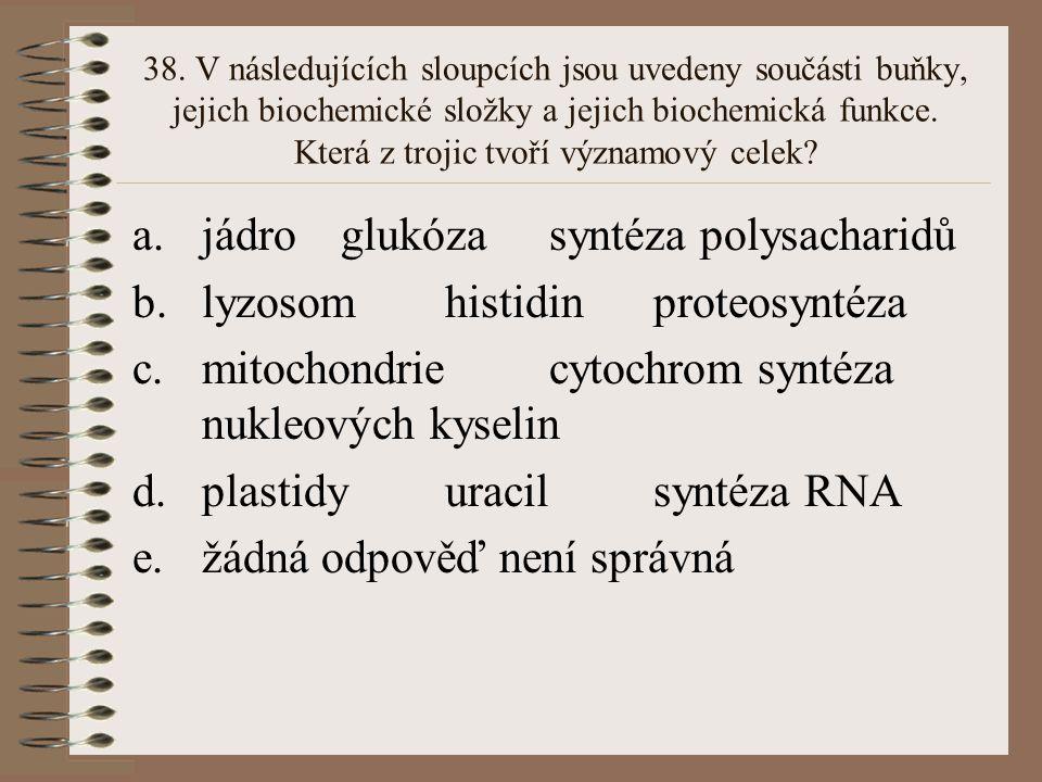 37. V následujících sloupcích jsou uvedeny součásti buňky, jejich biochemické složky a jejich biochemická funkce. Která z trojic tvoří významový celek