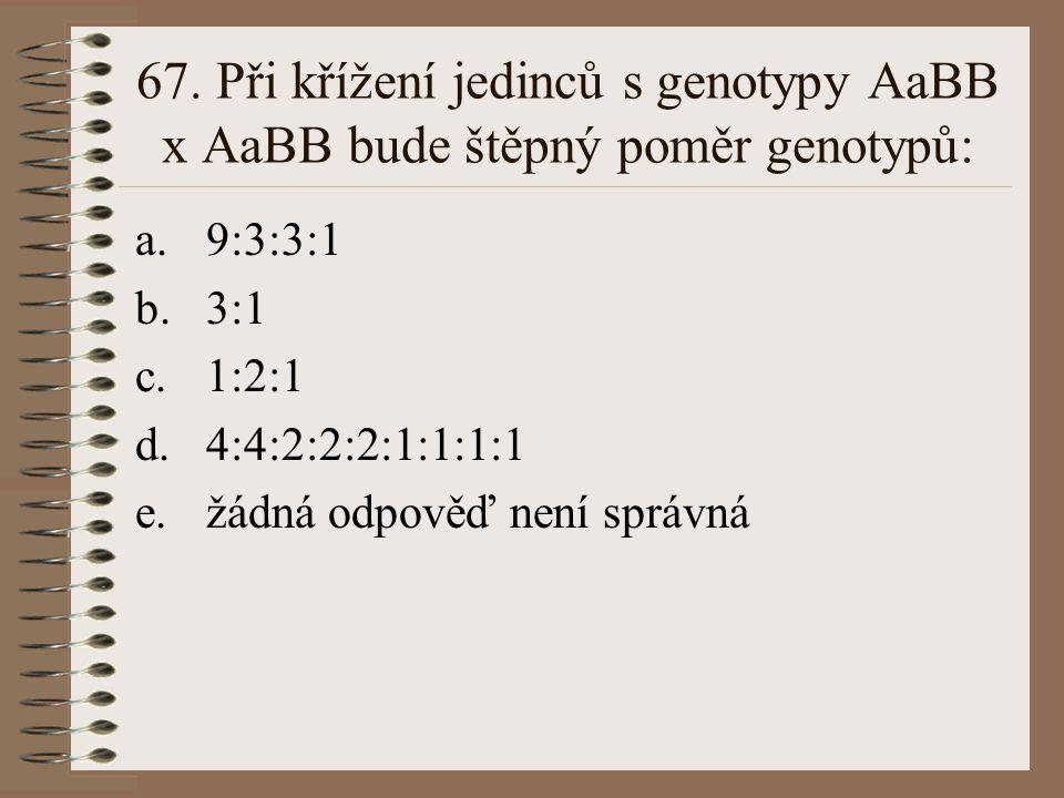 66. Alely téhož genu se od sebe liší tím, že: a.nesou informaci pro jiný protein b.jsou na chromosomech různých párů c.mají změnu v sekvenci nukleotid