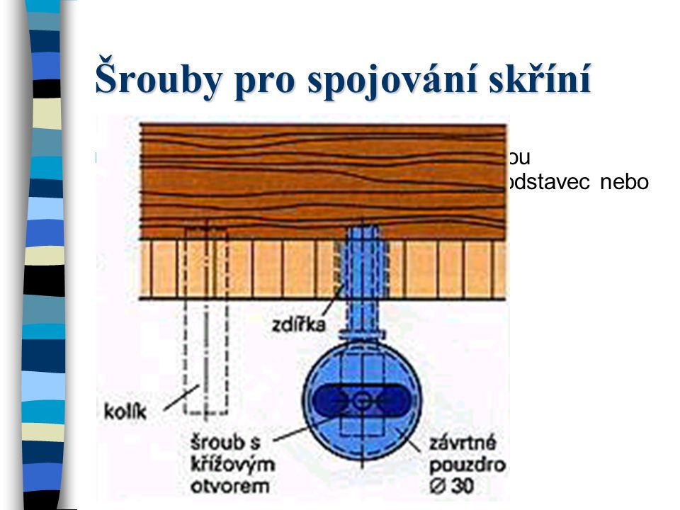 Šrouby pro spojování skříní Se šrouby pro spojování skříní se mohou sešroubovávat části skříní, jako jsou podstavec nebo sokl s bočnicemi.