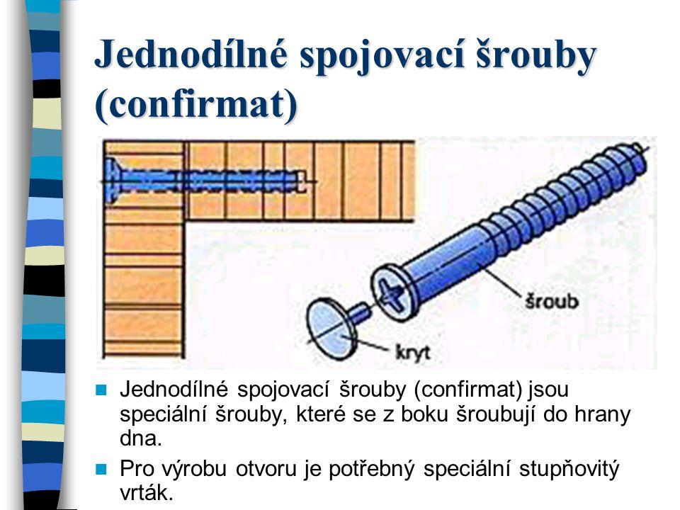 Jednodílné spojovací šrouby (confirmat) Jednodílné spojovací šrouby (confirmat) jsou speciální šrouby, které se z boku šroubují do hrany dna.