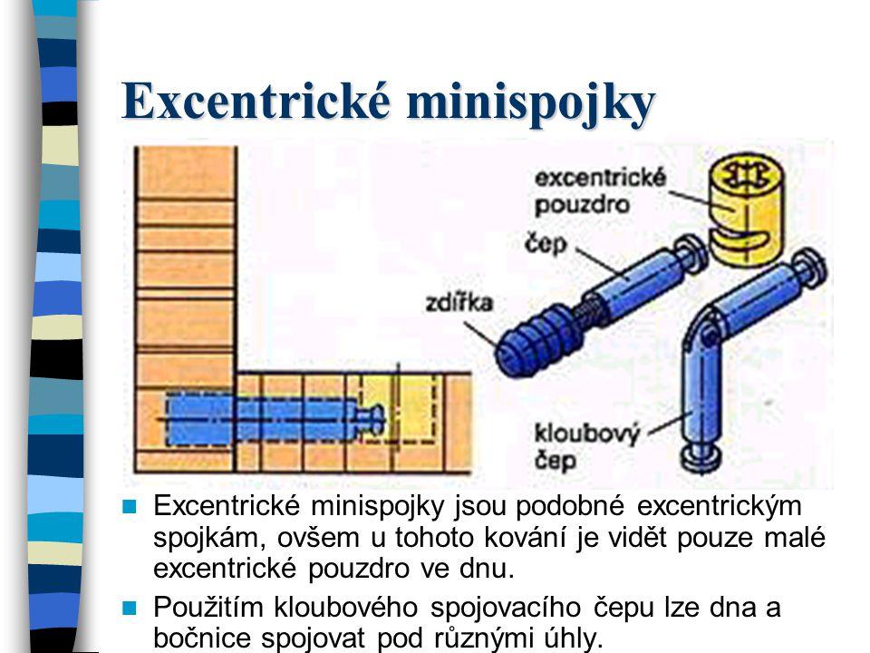 Excentrické minispojky Excentrické minispojky jsou podobné excentrickým spojkám, ovšem u tohoto kování je vidět pouze malé excentrické pouzdro ve dnu.