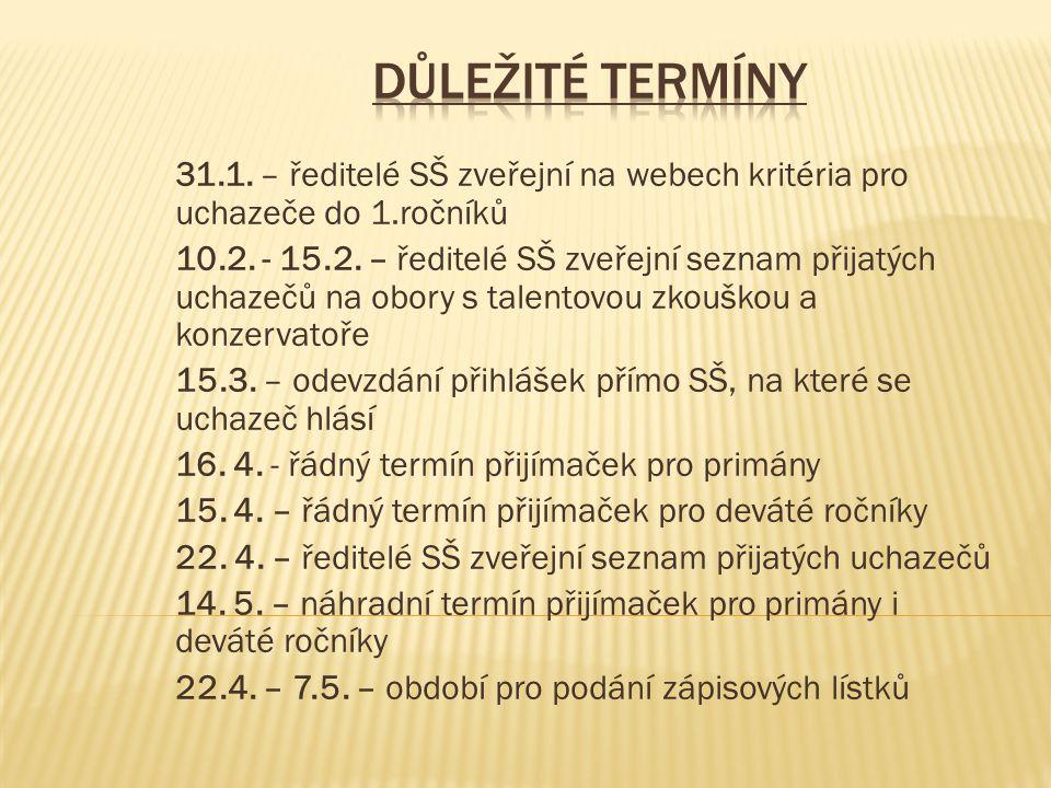 31.1. – ředitelé SŠ zveřejní na webech kritéria pro uchazeče do 1.ročníků 10.2.