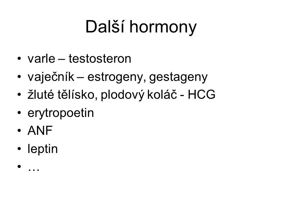 Další hormony varle – testosteron vaječník – estrogeny, gestageny žluté tělísko, plodový koláč - HCG erytropoetin ANF leptin …
