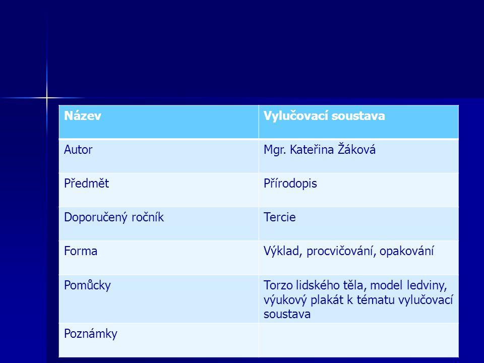 NázevVylučovací soustava AutorMgr. Kateřina Žáková PředmětPřírodopis Doporučený ročníkTercie FormaVýklad, procvičování, opakování PomůckyTorzo lidskéh