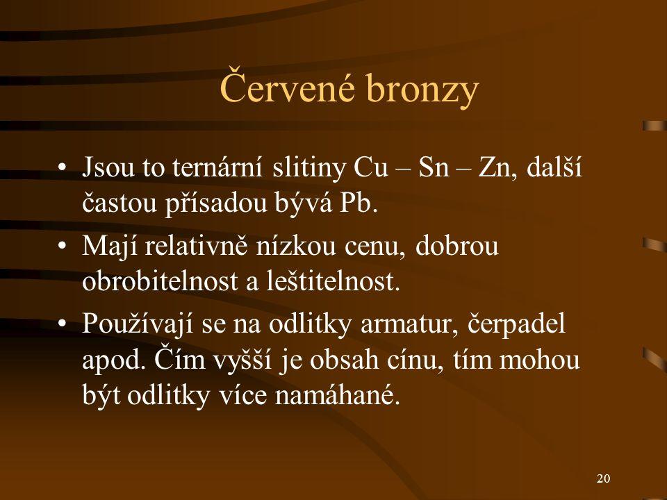 20 Červené bronzy Jsou to ternární slitiny Cu – Sn – Zn, další častou přísadou bývá Pb. Mají relativně nízkou cenu, dobrou obrobitelnost a leštitelnos