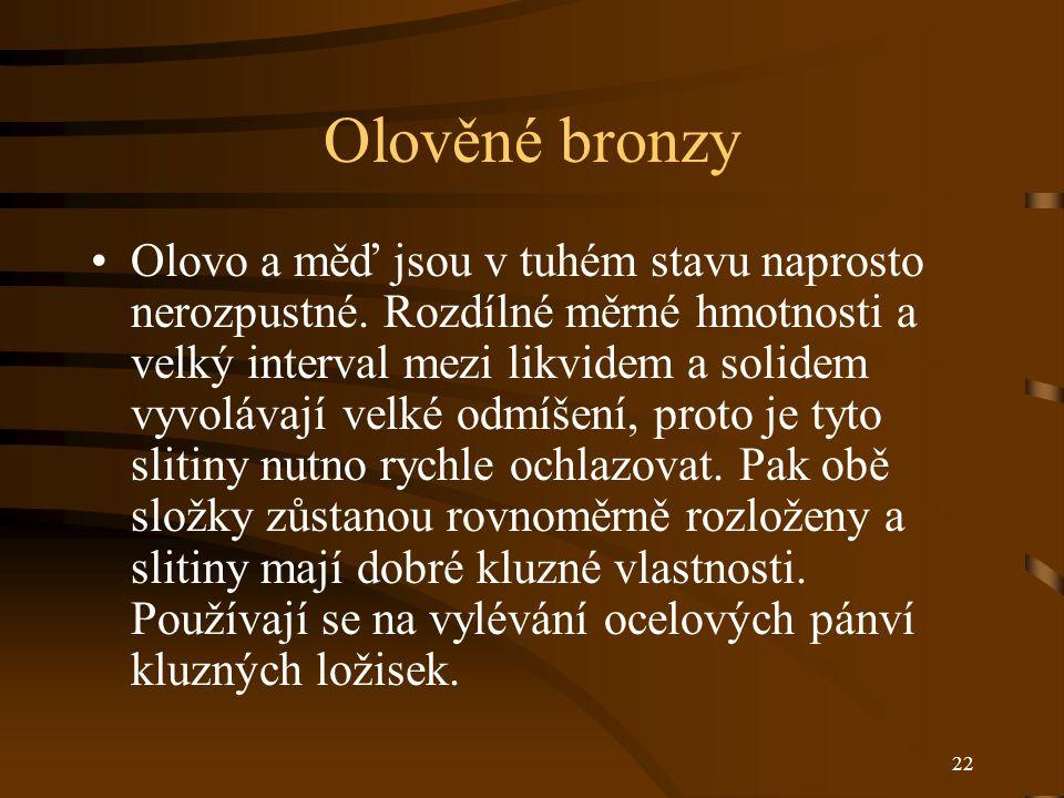 22 Olověné bronzy Olovo a měď jsou v tuhém stavu naprosto nerozpustné.