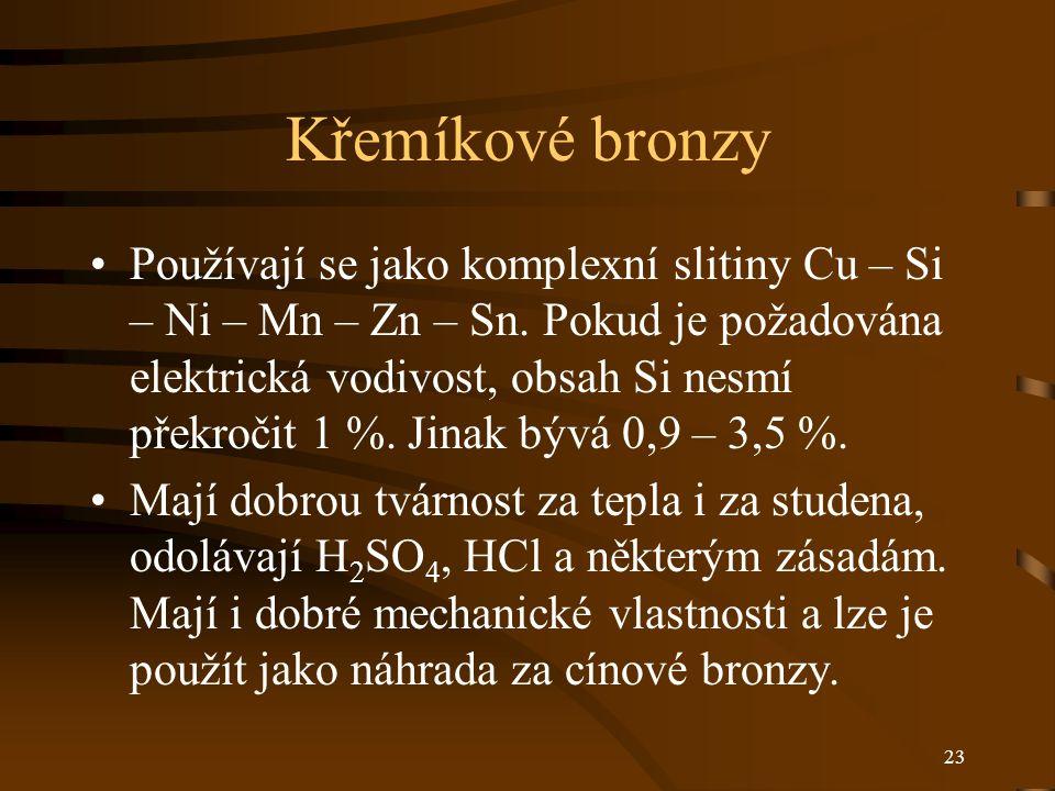 23 Křemíkové bronzy Používají se jako komplexní slitiny Cu – Si – Ni – Mn – Zn – Sn. Pokud je požadována elektrická vodivost, obsah Si nesmí překročit
