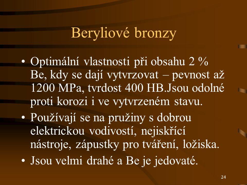 24 Beryliové bronzy Optimální vlastnosti při obsahu 2 % Be, kdy se dají vytvrzovat – pevnost až 1200 MPa, tvrdost 400 HB.Jsou odolné proti korozi i ve