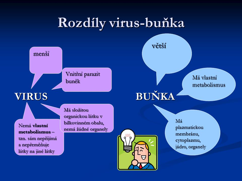 Rozdíly virus-buňka VIRUSBUŇKA Vnitřní parazit buněk Nemá vlastní metabolismus – tzn. sám nepřijímá a nepřeměňuje látky na jiné látky menší Má složito