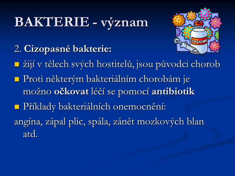 BAKTERIE - význam 2. Cizopasné bakterie: žijí v tělech svých hostitelů, jsou původci chorob žijí v tělech svých hostitelů, jsou původci chorob Proti n