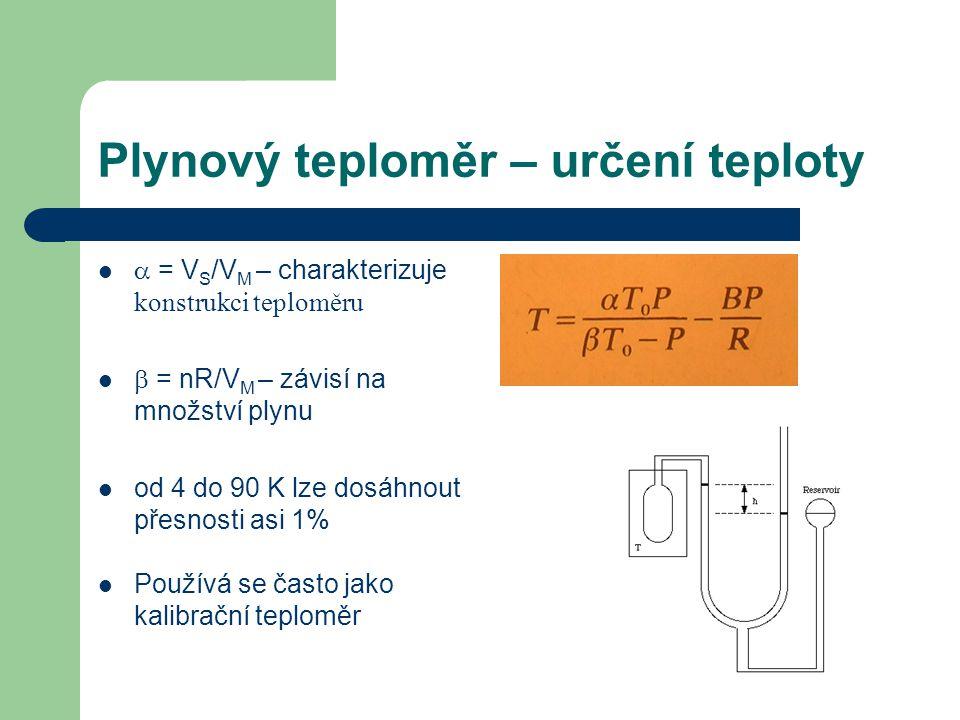 Plynový teploměr – určení teploty  = V S /V M – charakterizuje konstrukci teploměru  = nR/V M – závisí na množství plynu od 4 do 90 K lze dosáhnout