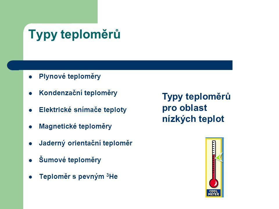 Typy teploměrů Plynové teploměry Kondenzační teploměry Elektrické snímače teploty Magnetické teploměry Jaderný orientační teploměr Šumové teploměry Te