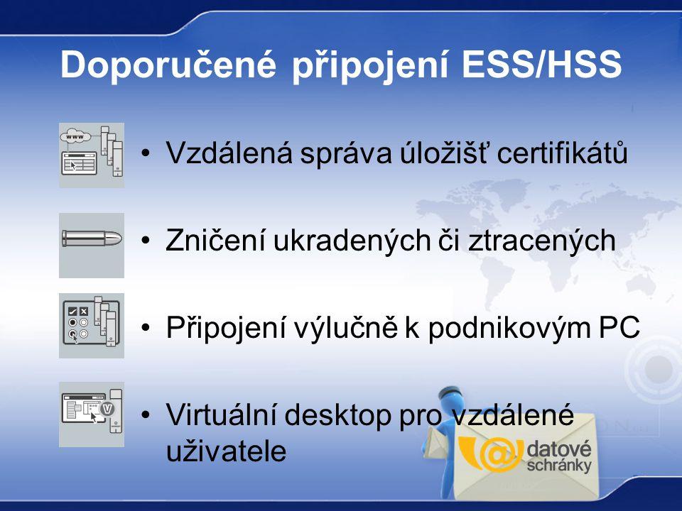 Doporučené připojení ESS/HSS Vzdálená správa úložišť certifikátů Zničení ukradených či ztracených Připojení výlučně k podnikovým PC Virtuální desktop