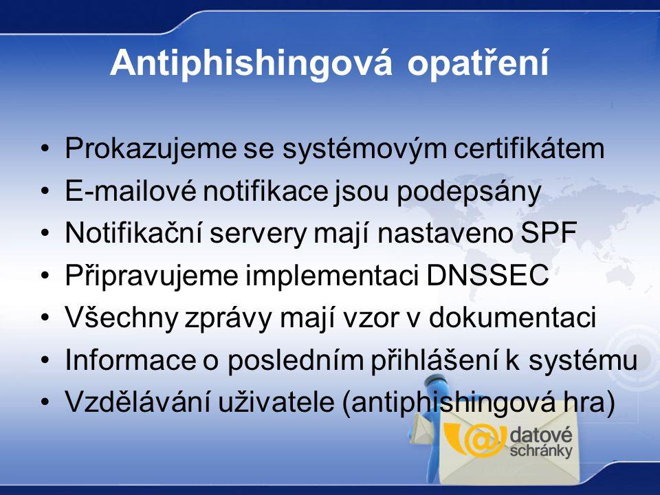 Antiphishingová opatření Prokazujeme se systémovým certifikátem E-mailové notifikace jsou podepsány Notifikační servery mají nastaveno SPF Připravujem