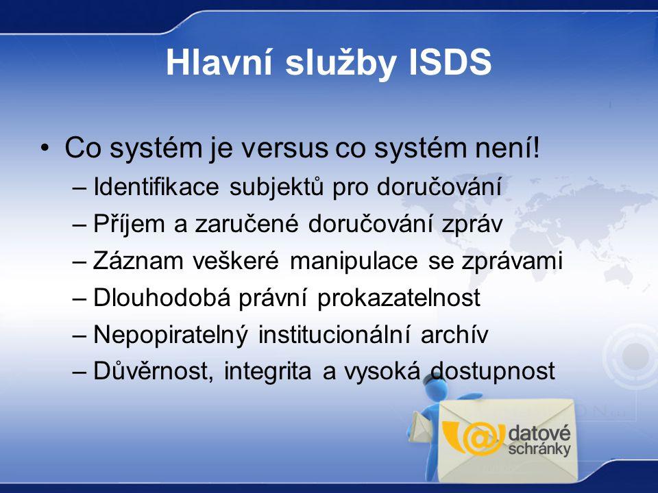 Hlavní služby ISDS Co systém je versus co systém není! –Identifikace subjektů pro doručování –Příjem a zaručené doručování zpráv –Záznam veškeré manip