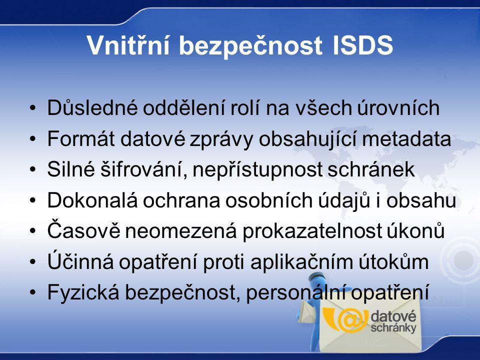 Vnitřní bezpečnost ISDS Důsledné oddělení rolí na všech úrovních Formát datové zprávy obsahující metadata Silné šifrování, nepřístupnost schránek Doko