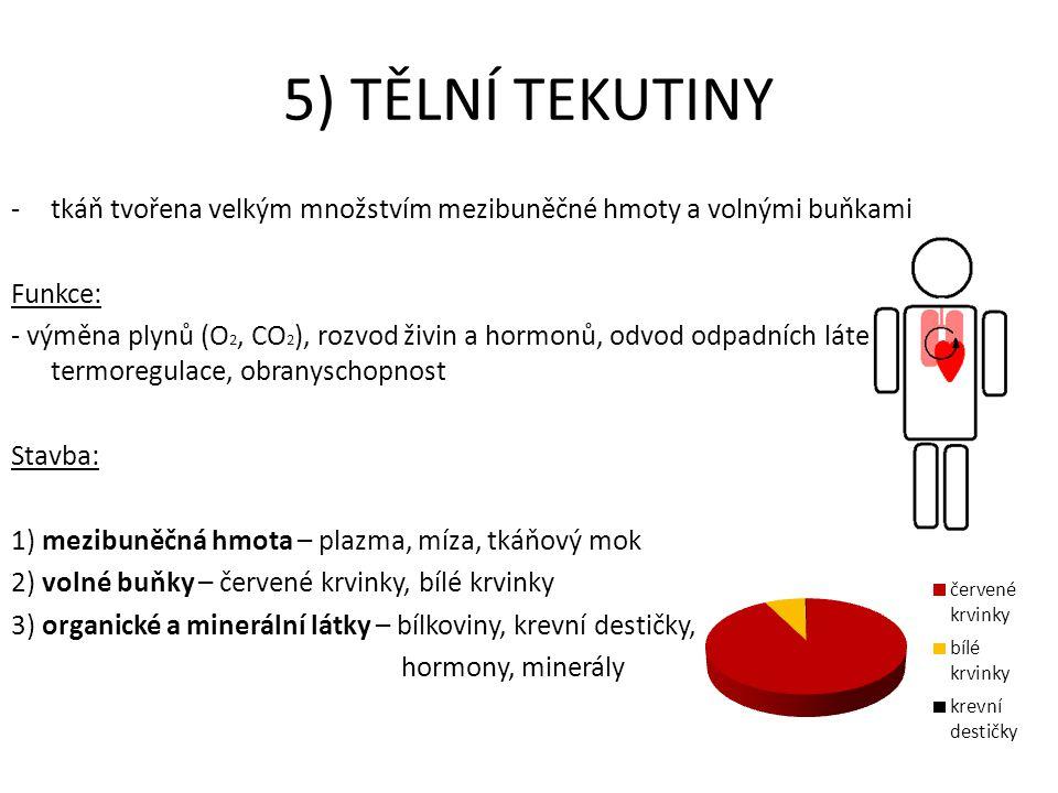 5) TĚLNÍ TEKUTINY -tkáň tvořena velkým množstvím mezibuněčné hmoty a volnými buňkami Funkce: - výměna plynů (O 2, CO 2 ), rozvod živin a hormonů, odvo