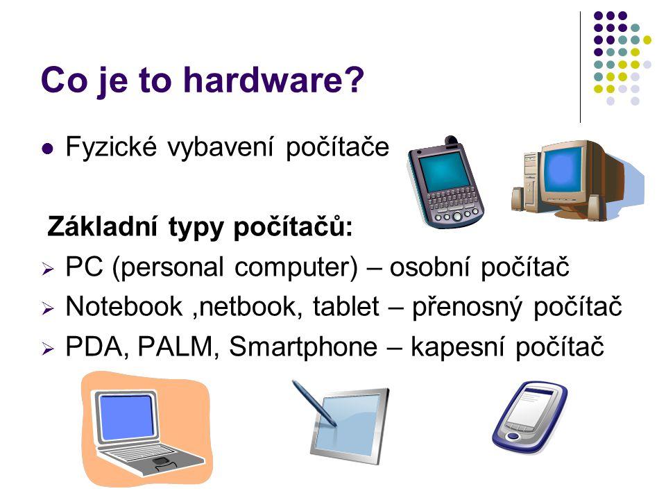 Co je to hardware? Fyzické vybavení počítače Základní typy počítačů:  PC (personal computer) – osobní počítač  Notebook,netbook, tablet – přenosný p