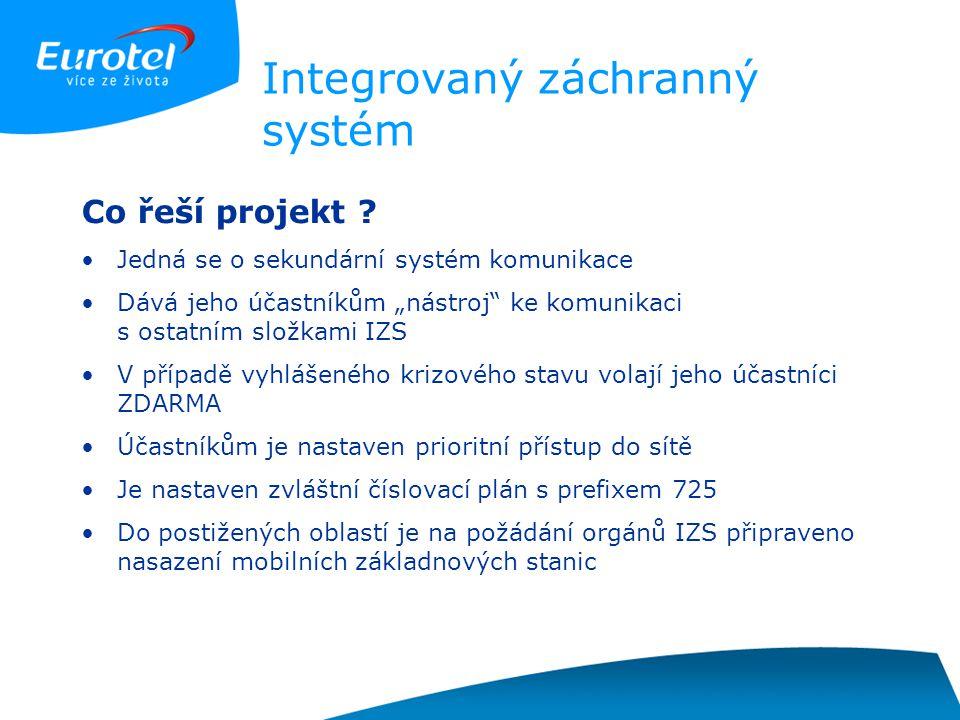 """Integrovaný záchranný systém Co řeší projekt ? Jedná se o sekundární systém komunikace Dává jeho účastníkům """"nástroj"""" ke komunikaci s ostatním složkam"""