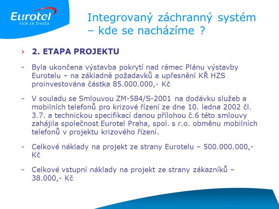Integrovaný záchranný systém – kde se nacházíme ? ›2. ETAPA PROJEKTU -Byla ukončena výstavba pokrytí nad rámec Plánu výstavby Eurotelu – na základně p