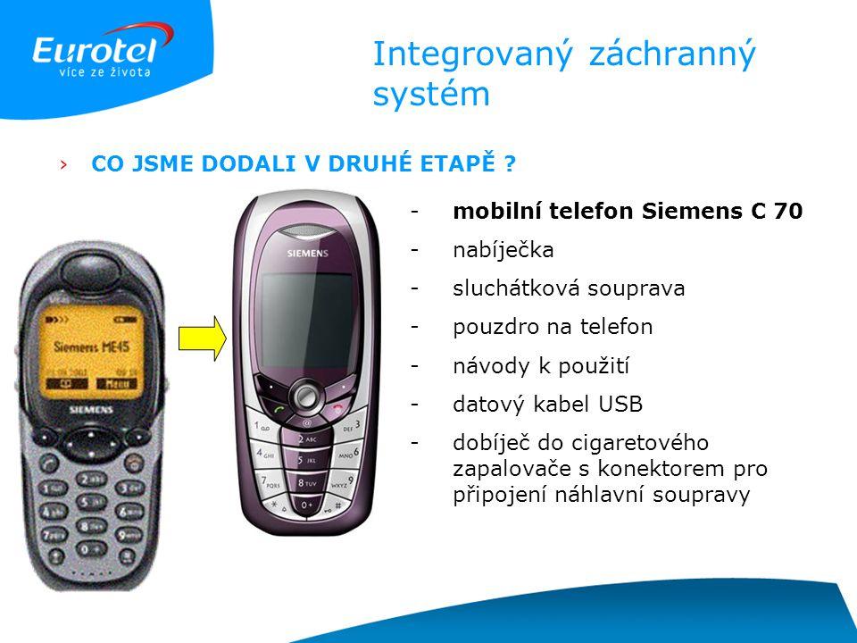Integrovaný záchranný systém ›CO JSME DODALI V DRUHÉ ETAPĚ ? -mobilní telefon Siemens C 70 -nabíječka -sluchátková souprava -pouzdro na telefon -návod