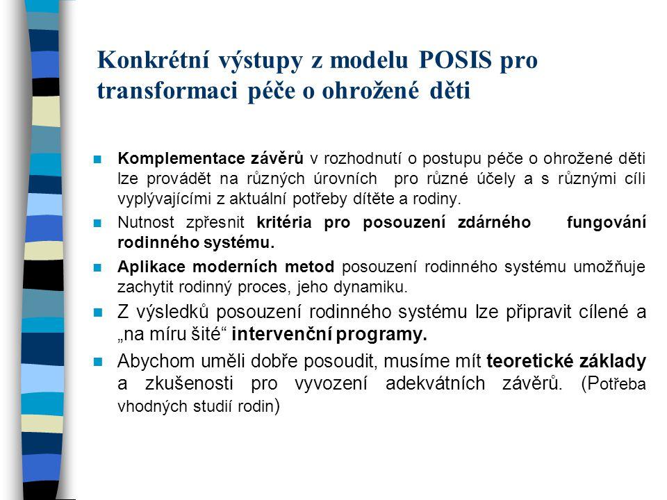 Konkrétní výstupy z modelu POSIS pro transformaci péče o ohrožené děti Komplementace závěrů v rozhodnutí o postupu péče o ohrožené děti lze provádět n