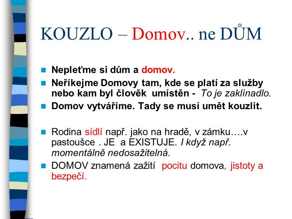 KOUZLO – Domov.. ne DŮM Nepleťme si dům a domov. Neříkejme Domovy tam, kde se platí za služby nebo kam byl člověk umístěn - To je zaklínadlo. Domov vy