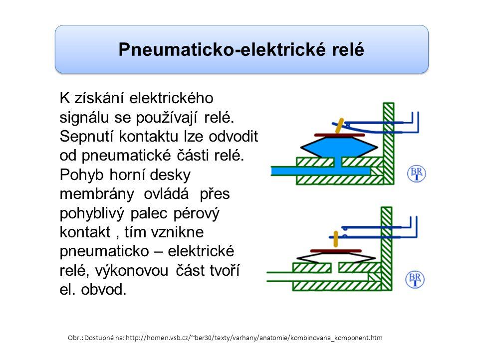 Pneumaticko-elektrické relé K získání elektrického signálu se používají relé. Sepnutí kontaktu lze odvodit od pneumatické části relé. Pohyb horní desk
