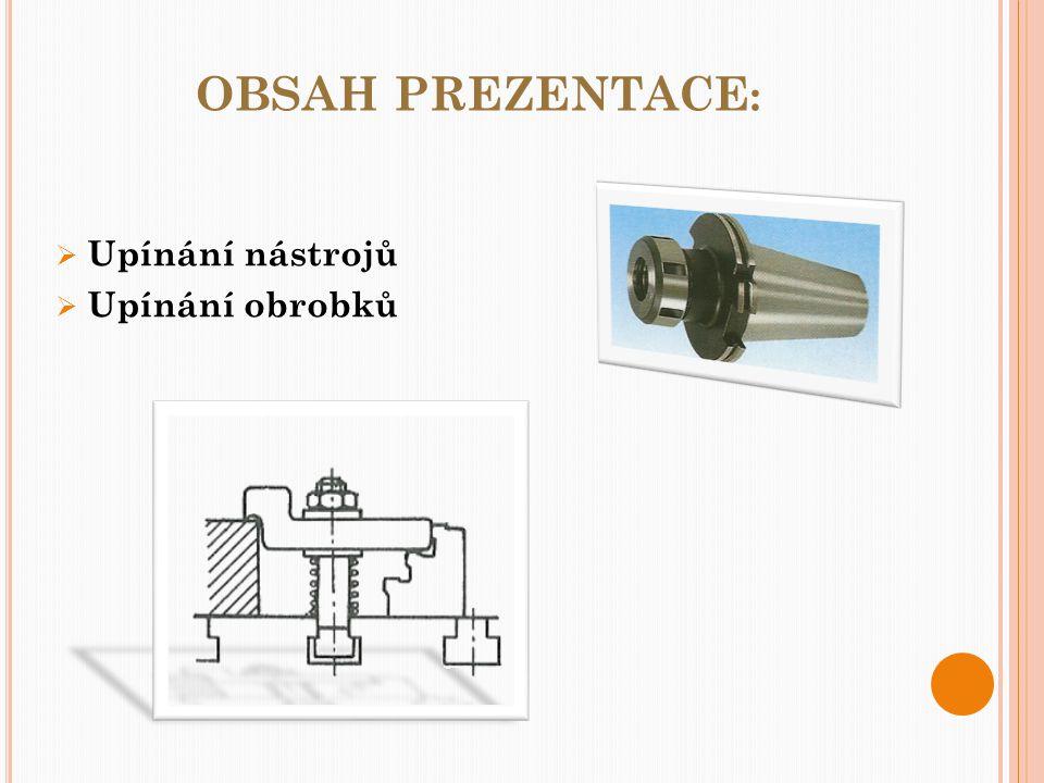 OBSAH PREZENTACE :  Upínání nástrojů  Upínání obrobků