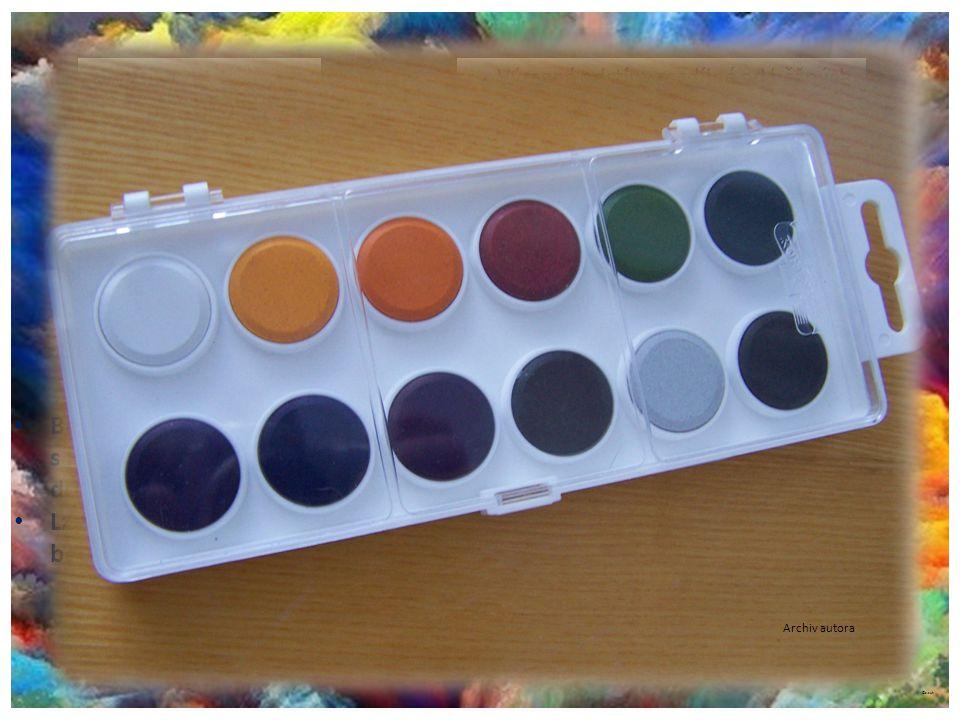 ©c.zuk Barvy vodové Archiv autora Vpíjí se kvalitně a rychle do materiálu. Prodávají se v základních odstínech jako sada. Síla hrotu je 1 – 8 mm. Barv