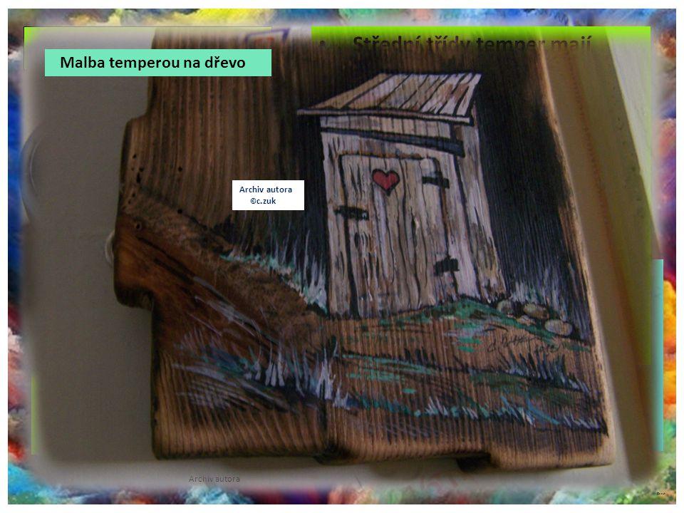 ©c.zuk temperové barvy Archiv autora Tlumené barvy s krycí schopností. Rychle schnou na materiálu. Zanechávají hustou, pastózní stopu. Ředí se vodou,