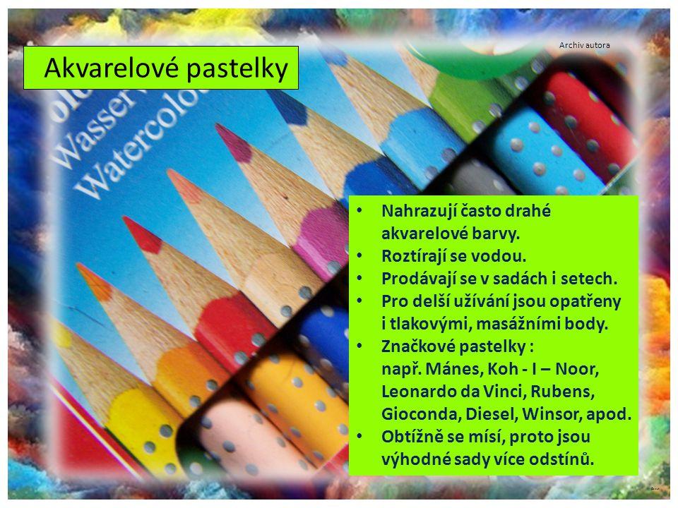 ©c.zuk Akvarelové pastelky Archiv autora Nahrazují často drahé akvarelové barvy. Roztírají se vodou. Prodávají se v sadách i setech. Pro delší užívání